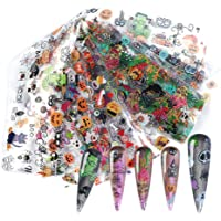 Halloween Nail Foil Transfers Stickers Day of the Dead Nail Foils 10 Rolls Pumpkin Spider Skull Ghost Witch Nail Decals…