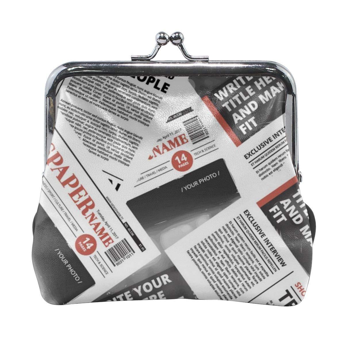 Newspaper Print Cute Buckle Coin Purses Buckle Buckle Change Purse Wallets