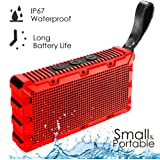 Wireless Waterproof Bluetooth Speaker by Kong Kim,Portable Mini Pocket Size Hands Free 5W Loud Sound Box,IP67 Floating for Swimming Pool Bathroom Shower Beach Outdoor Sports -Red