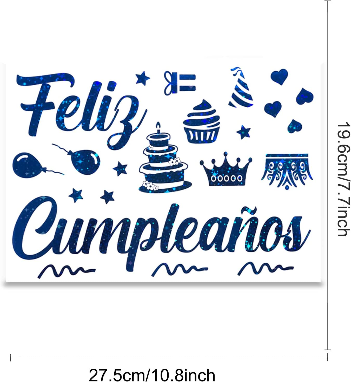 5 Sheets Mixed Color Spanish Feliz Cumplea/ños Stickers Balloon Decoration Stickers Birthday Party Glass Gift Box Decoration Stickers