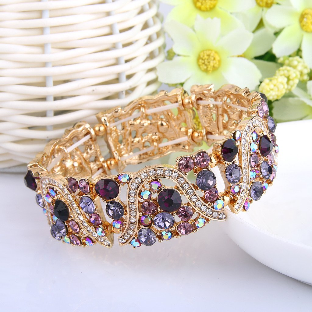 EVER FAITH Gold-Tone Austrian Crystal Art Deco Wave Bridal Elastic Stretch Bracelet Purple by EVER FAITH (Image #3)