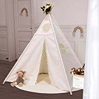 SUDOO Kids Teepee Tent Indian Children Play Tent Wigwam Tipi Foldable Play House Cotton Canvas Portable Princess Girls…
