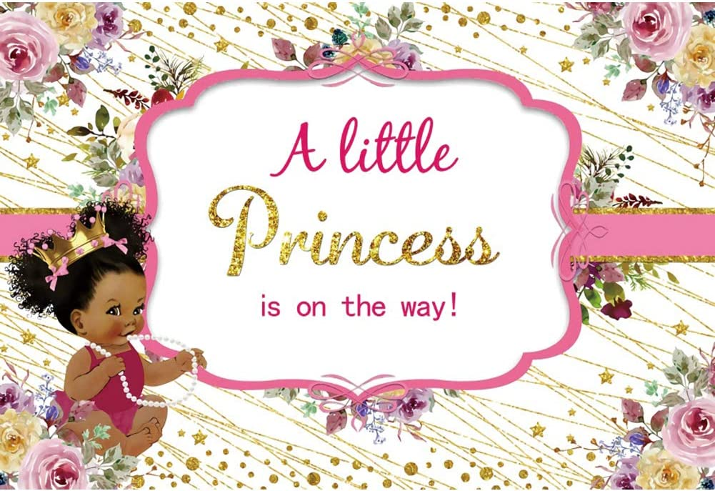 Yeele A Little Princess is on The Way Backdrop 10x6.5ft African Black Girl Baby Shower Photography Background Cute Ethnic Girl Party Kids Acting Show Party Table Decor Photo Booth Digital Wallpaper