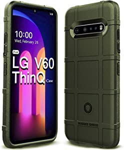 Sucnakp LG V60 Thinq Case LG V60 Case Heavy Duty Shock Absorption Phone Cases Impact Resistant Protective Cover for LG V60 Thinq(New Army Green)