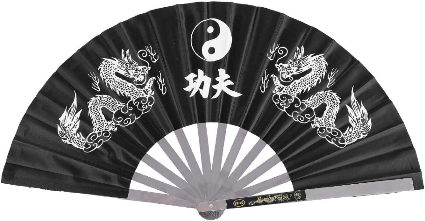 Wilecolly Abanico de Tai Chi para Fitness, Artes Marciales de Tai Chi de Acero Inoxidable, Kung Fu, práctica de Baile, Entrenamiento, Rendimiento, Ventilador(Negro)