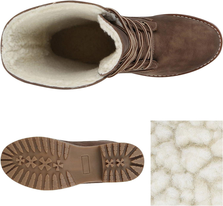 stiefelparadies Damen Stiefeletten Worker Boots mit Blockabsatz Profilsohle Flandell Khaki Matt