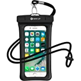 防水ケース NineUp iPhone XR/X/8/7とiPhone XR MAX/8/7 plus指紋/Face ID認証対応 温泉旅行 防雨 水に浮く スマホ用防水ポーチ アイフォン防水防塵カバー iPhoneとAndroid 6.5インチ以下全機種対応 高感度タッチスクリーン ネックストラップ付属(首掛け付き) IPX8 水中撮影 お風呂/潜水/温泉/水泳など適用