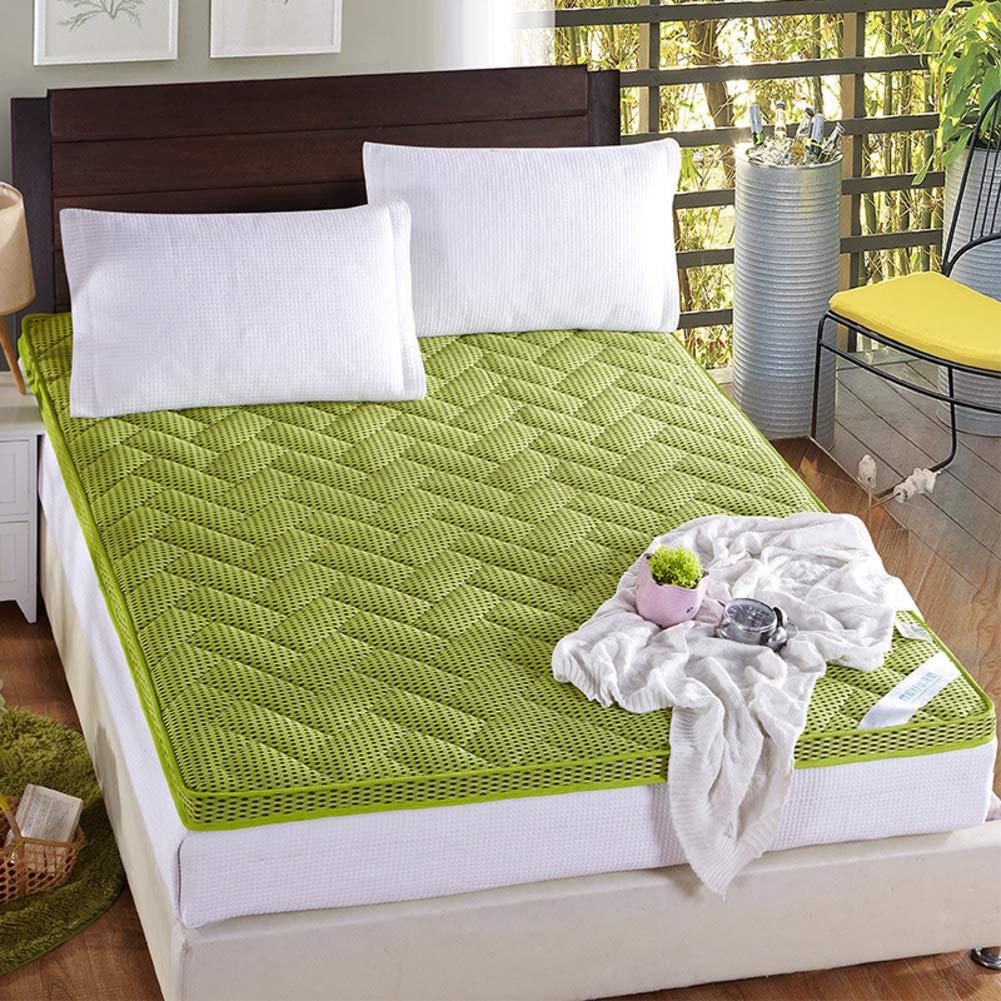 厚め ベッドパッド, 4d メッシュ 通気性 布団畳 柔らか 滑り止め シングル ダブル 学校 寮 マットレス-緑 B07RX7FS9Q