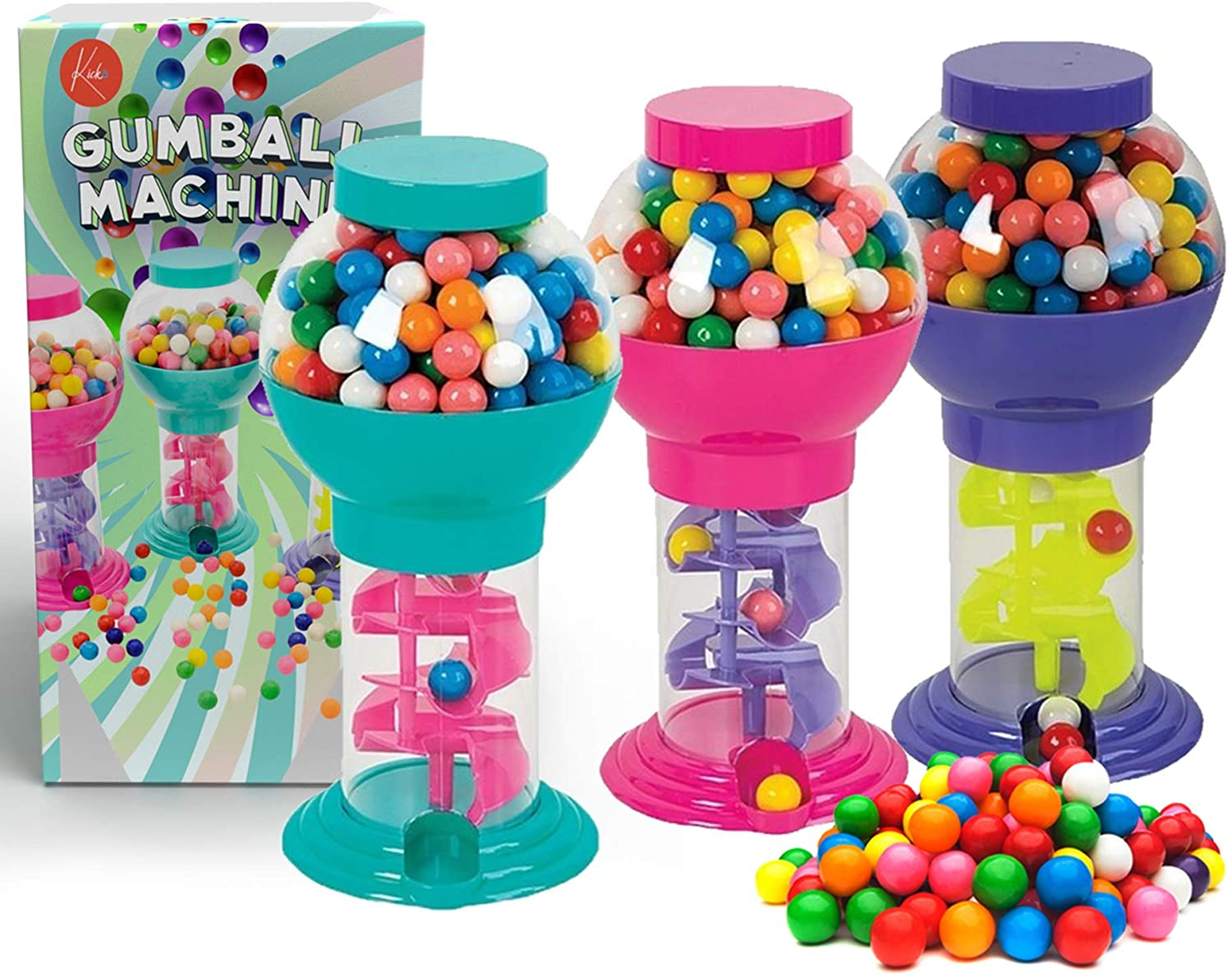 Kicko Twirling Gumball Machines - 3 Pack - 9.75 Inch - Galaxy Candy Dispenser - for Birthdays, Kiddie Parties, Christmas, Novelties, Kitchen Buffet, Party Favors and Supplies