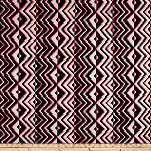 Fabric Milly Stretch Silk Crepe de Chine Aztec Pink/Black/White Yard
