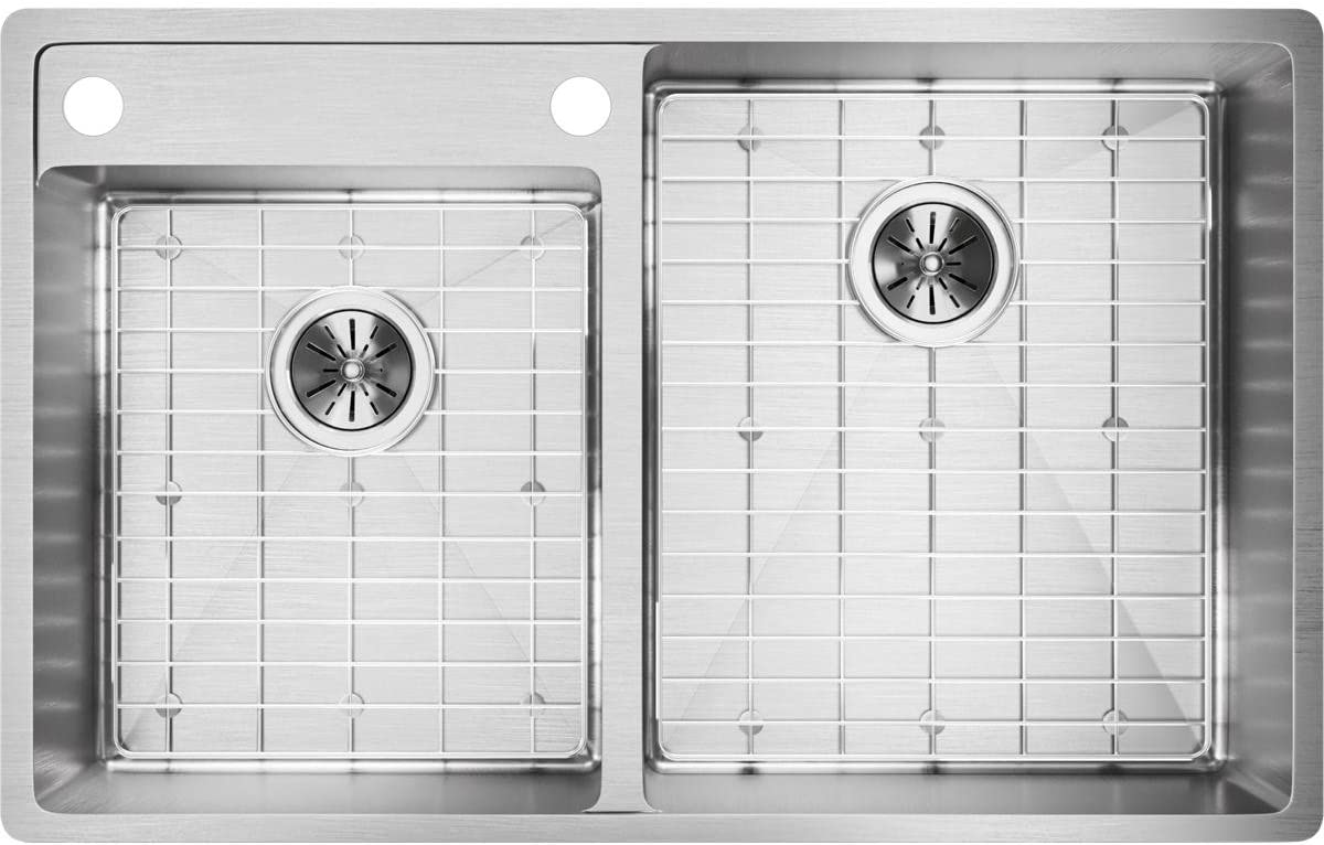 Elkay Crosstown ECTRUD31199LDBGS2 Offset Double Bowl Undermount Stainless Steel Kitchen Sink Kit with Water Deck