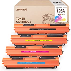 ZIPRINT Compatible Toner Cartridge Replacement for HP 126A CE310A CE311A CE312A CE313A Ues in HP Color Laserjet Pro MFP M175nw M275nw CP1025nw Laser Printer(Black Cyan Magenta Yellow, 4-Pack)