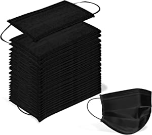 100 Pack Surgical Disposable Face Masks with Elastic Ear Loop, 3 Ply Breathable and Comfortable for Blocking Dust Air Pollution Flu Protection (Black)
