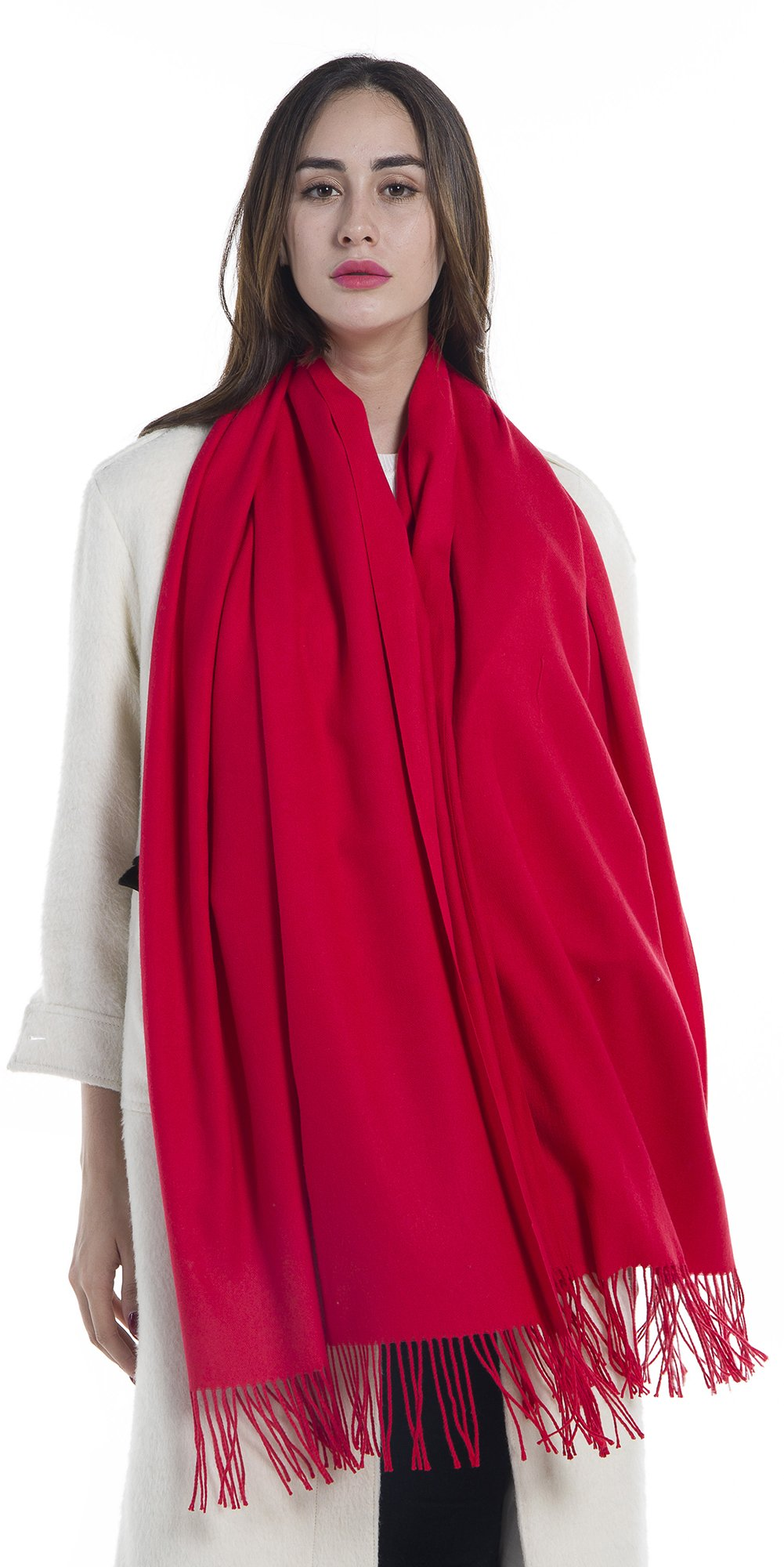 Niaiwei Women Scarf Plaid Blanket Scarves Wraps Shawl winter Cashemere scarf (Red)