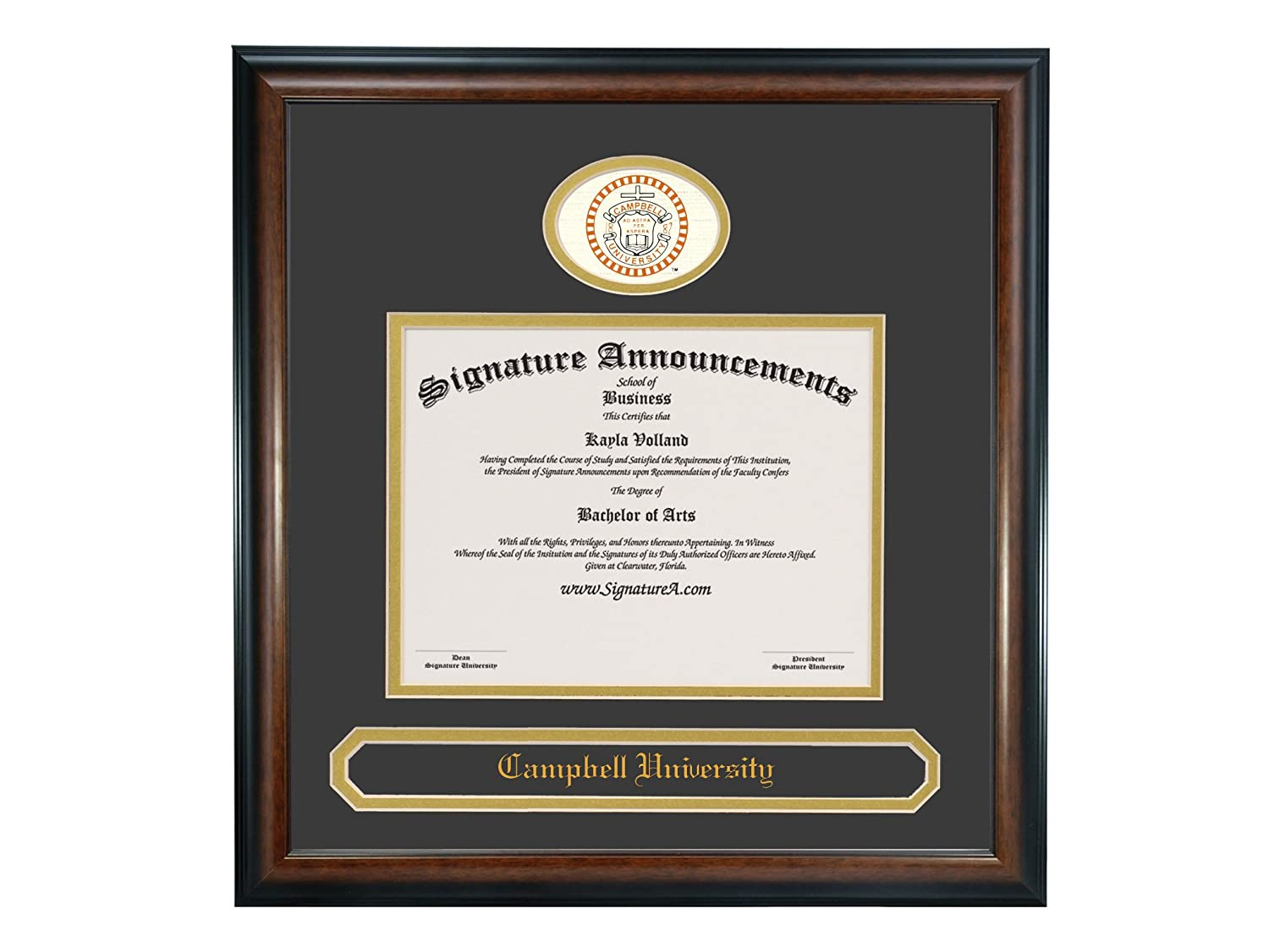 Sculpted Foil Seal /& Name Graduation Diploma Frame 20 x 20 Matte Mahogany Signature Announcements Campbell-University Undergraduate