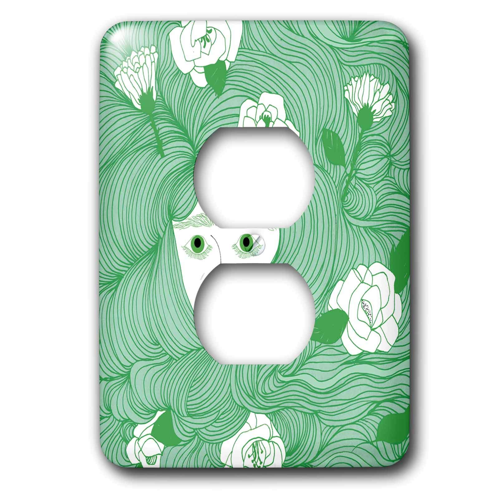 3dRose Daniela Spoto- People - Woman With Long Green Hair And White Flowers - Light Switch Covers - 2 plug outlet cover (lsp_289553_6) by 3dRose