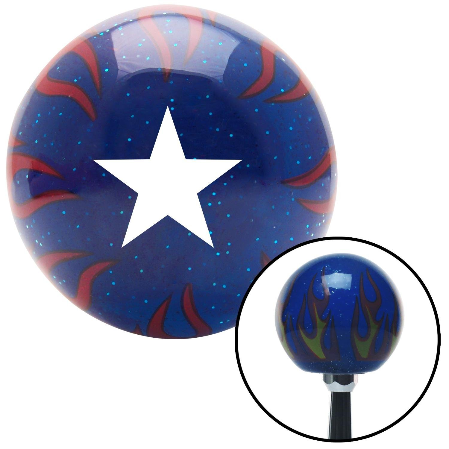 American Shifter 249817 Blue Flame Metal Flake Shift Knob with M16 x 1.5 Insert White Officer 07 - Rear Admiral, Lower Half