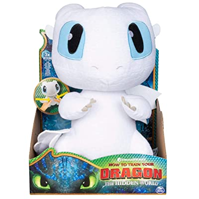 "How to Train Your Dragon 3: The Hidden World Squeeze and Growl Lightfury 10"" Plush Dragon with Sounds (Original Version): Toys & Games"