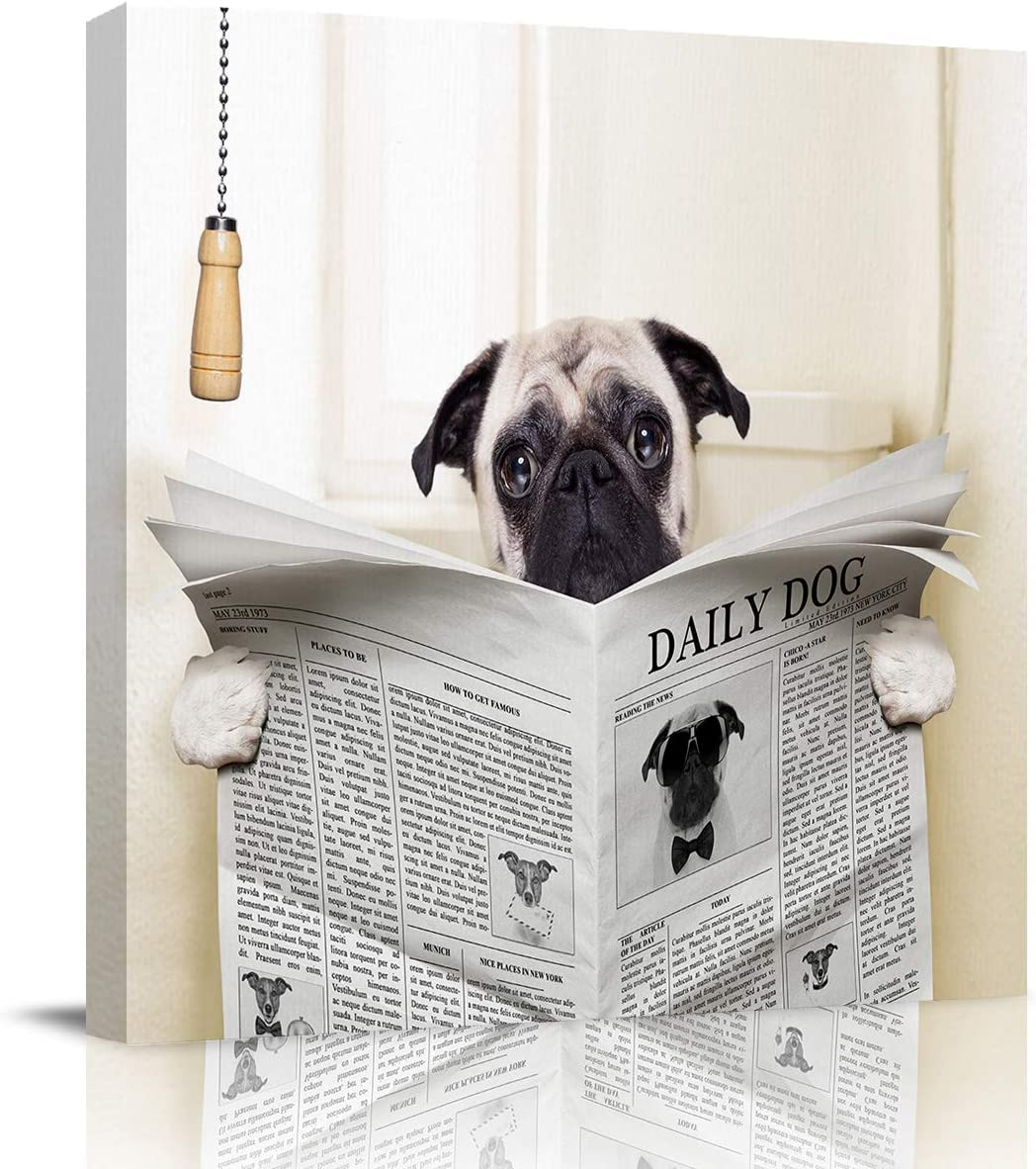 Abstract Wall Art on Canvas for Bedroom Living Room Bathrooms Kitchen,Funny Pug Dog Reading Newspaper Animal Print Artworks Office Home Decor,Stretched by Wooden Frame,Ready to Hang,8x8in