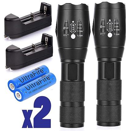 2X Tactical Ultrafire Flashlight T6 High Power 5 Modes Zoom Focus 18650 Battery