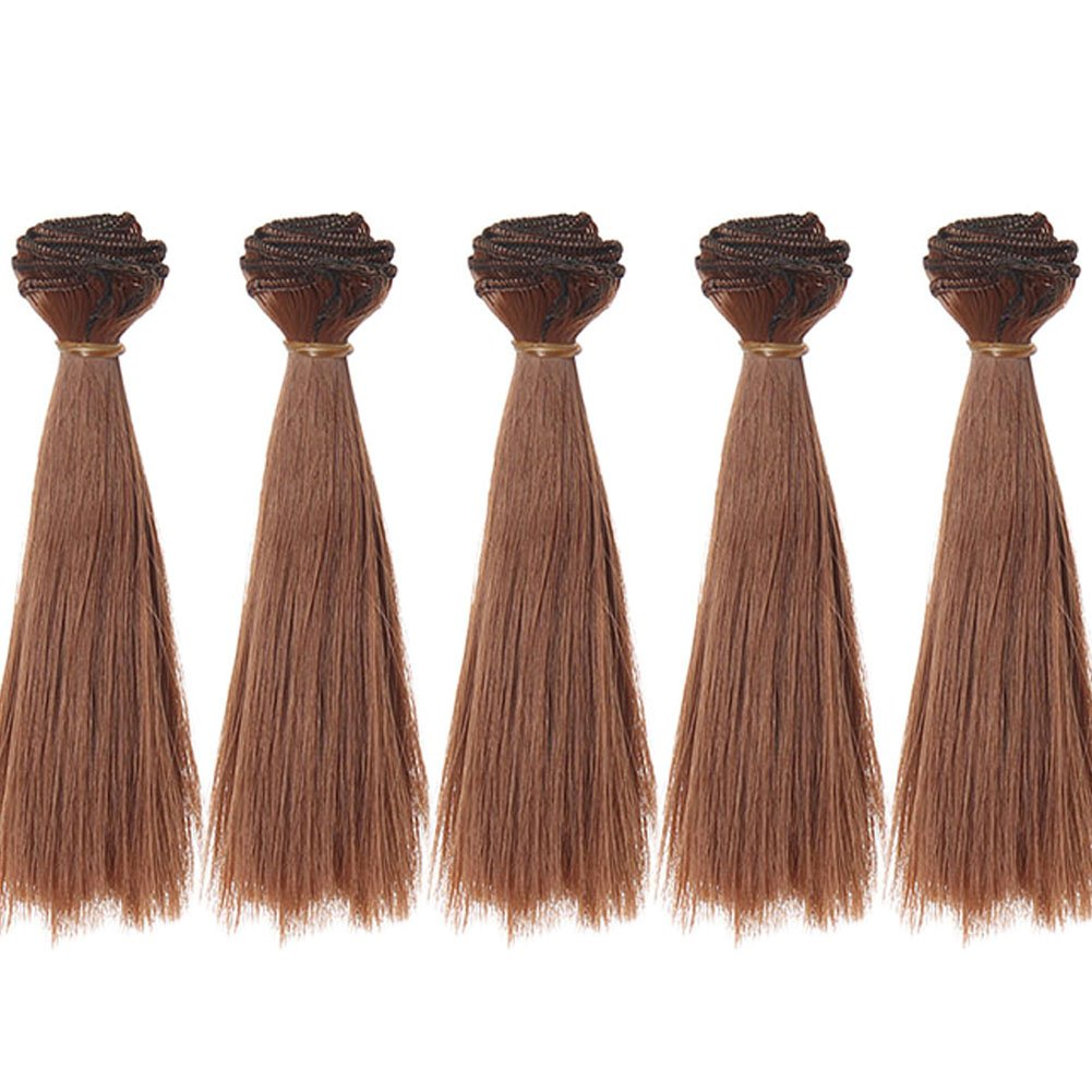 5pcs/lot,15x100cm Straight Natural Color Synthetic Doll Hair Weft for DIY BJD Blythe Pullip Doll's Wig