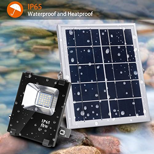 Solar Flood Lights Outdoor Remote Control Solar Power Led Lights 10W 500LM 25 LEDs IP65 Waterproof Solar Wall Lamp Floodlights for Gutter Shed,Business Sign