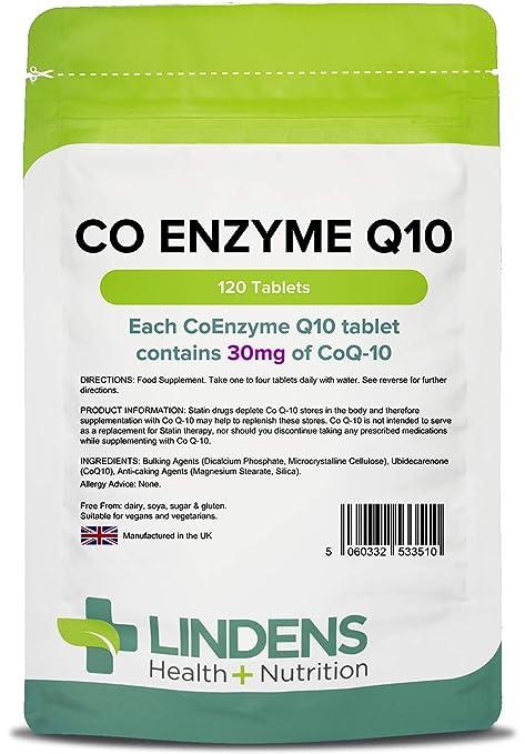 Lindens Coenzima Q10 30 mg en comprimidos | 120 Paquete | Las estatinas pueden reducir los niveles de Q10 en el cuerpo y los suplementos pueden ayudar ...