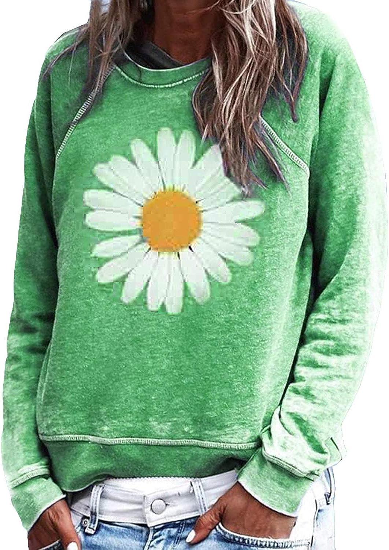 Uusollecy Damen Sweatshirt Casual Sunflower Muster Rundhals Langarmshirt Pullover Pulli Bluse Top Oberteile