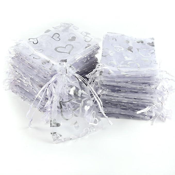CLE DE TOUS - 100pcs Blanca Bolsa de Organza para decorar regalo de boda bautizo Bolsitas de organza estampada con Corazón Plateado (9x7cm)