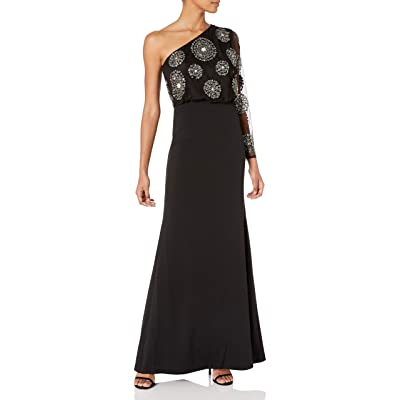 Adrianna Papell Women's Bead Crepe Long Dress at Women's Clothing store