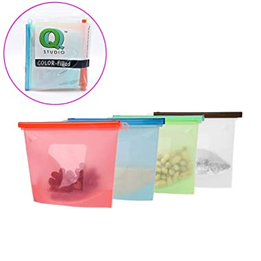4 Regular Reusable Silicone Food Storage Bag Airtight Seal Preservation Versatile Kitchen Utensil by QQ Studio