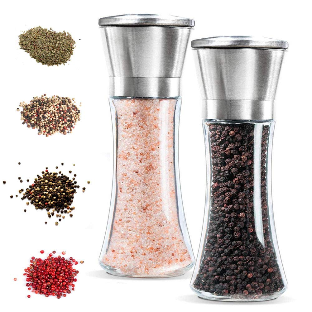 Angker-Premium Stainless Steel Salt and Pepper Grinder Set of 2- Brushed Stainless Steel Pepper Mill and Salt Mill, 6 Oz Glass Tall Body, 5 Grade Adjustable Ceramic Rotor- Salt and Pepper Shakers (large)