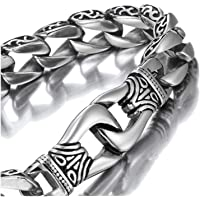 Amazing Stainless Steel Men's link Bracelet Silver Black 23cm (With Branded Gift Box)