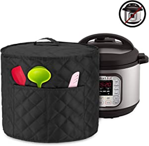 Luxja Dust Cover for 8 Quart Instant Pot, Cloth Cover with Pockets for Instant Pot (8 Quart) and Extra Accessories, Black Quilted Fabric (Large)