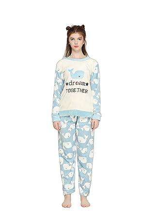 75eb17522e Pahajim Pijamas de Franela para Damas de otoño e Invierno Engrosamiento de  Pijamas caseros Pijamas más Suaves para Mujeres Pijamas con Pijamas de  Manga ...