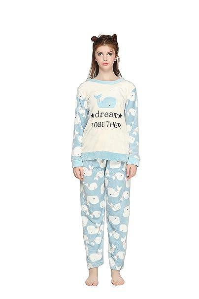 Pahajim Pijamas de Franela para Damas de otoño e Invierno Engrosamiento de Pijamas caseros Pijamas más