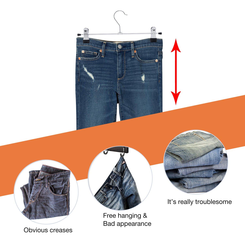 IEOKE Hosenb/ügel Kleiderb/ügel mit verstellbaren Metallclips 20er-Pack strapazierf/ähig und platzsparend