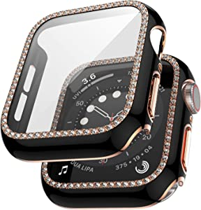 QVLANG Compatible Apple Watch Case 42mm with Tempered Glass Screen Protector Accessories, Bling Diamond Full Coverage Guard Bumper Cover for Girl Women iWatch Series 3/2/1 (Black/Rosegold, 42mm)