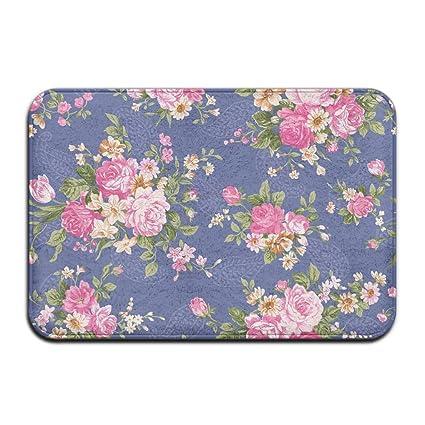 Amazon.com: YUYU Beautiful Vintage Rose Flower Wallpaper Dining Room White Memory Foam Bathroom Mat 16x24 Inch Customized Artwork Print: Home & Kitchen