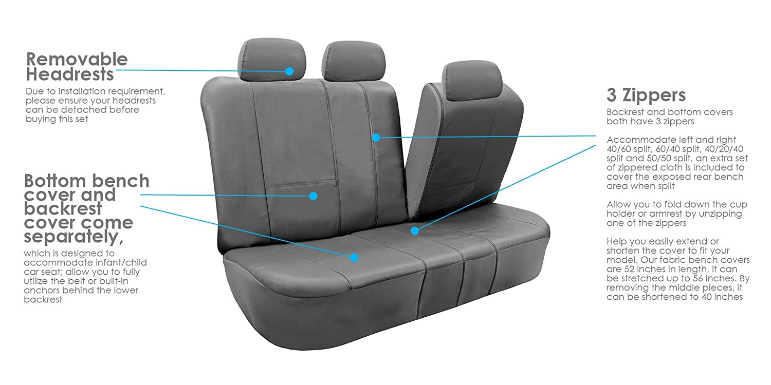 FH Group PU002GRAYBLACK013 Gray//Black Faux Leather Split Bench Car Seat Cover