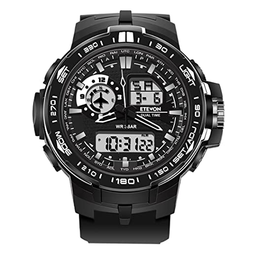 ETEVON Mens Air Force Stylish Big Face Analog Digital Watch with Soft & Light Silicone Band - Dual Time Zone - 30M Waterproof - EL Backlight, ...