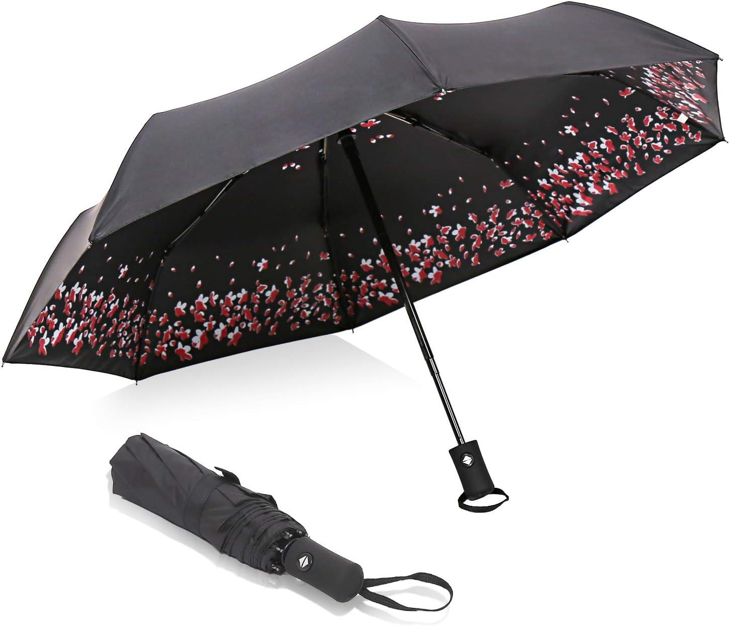 Automatic Folding Umbrella Sea Turtle At Dawn Travel Umbrella Compact 46 Inch Rain Umbrella for Men Women Auto Open Close