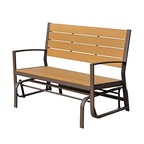 Sensational Outsunny Garden Glider Bench Wooden Metal 2 Seater Swing Chair Porch Outdoor Patio Double Rocker Caraccident5 Cool Chair Designs And Ideas Caraccident5Info