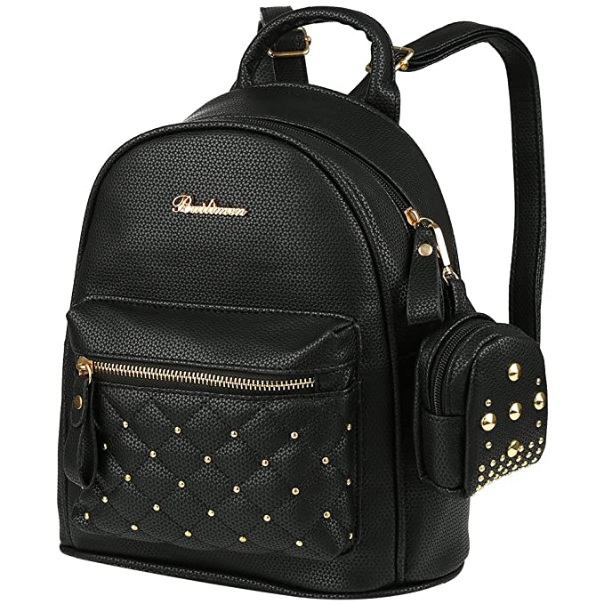 959b5550fb44e7 Vbiger PU Leather Mini Backpack Purse Fashion Travel Backpack for Women  Girls Rivets Decoration with Wallet: Amazon.co.uk: Clothing