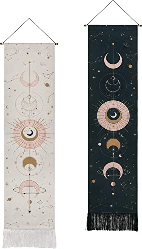 2 Pack Moon Phase Tapestry Moon Tapestry Wall Hanging Art Bohemian Tapestries Cotton Linen Tapestry for Room Black White, 12.8 x 51.2 inches