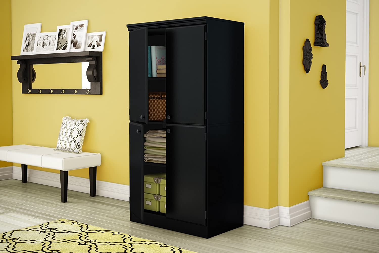 Amazon South Shore Morgan Collection Storage Cabinet Pure Black Kitchen Dining