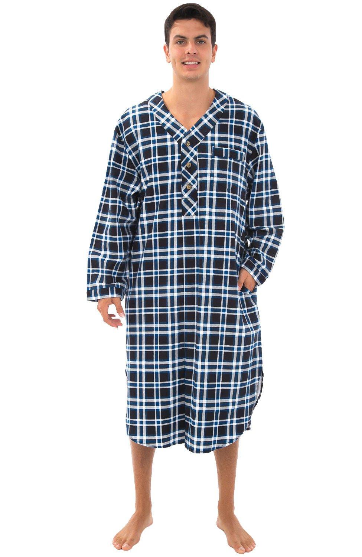 Alexander Del Rossa Mens Flannel Nightshirt, 100% Cotton Long Sleep Shirt, Small Black and Blue Plaid (A0542P26SM)