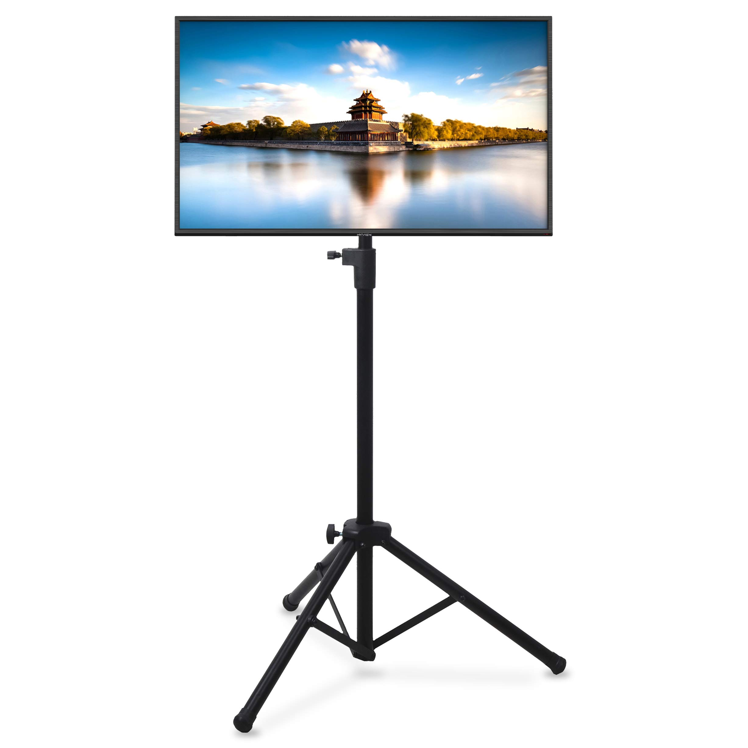 Pyle Premium LCD Flat Panel TV Tripod, Portable TV Stand, Foldable Stand Mount, Fits LCD LED Flat Screen TV Up To 32'', Adjustable Height, 22 lbs Weight Capacity, VESA 75x75, 100x100 (PTVSTNDPT3215) by Pyle