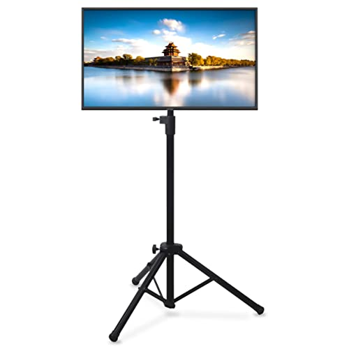 Pyle Premium LCD Flat Panel TV Tripod, Portable TV Stand, Foldable Stand Mount, Fits LCD LED Flat Screen TV Up To 32 , Adjustable Height, 22 lbs Weight Capacity, Vesa 75×75, 100×100 PTVSTNDPT3215