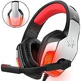 Gaming Headset pour PS4 Xbox One PC Controller, DIZA100 V4 Gaming Gaming avec Aluminiumgehäuse, Mikrofon, LED Light Bass Surround pour ordinateur portable Mac Nintendo Switch Spiele Rot